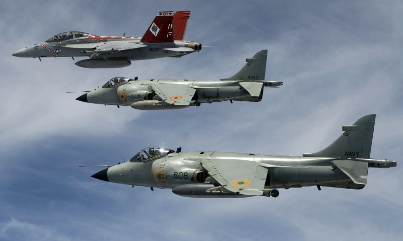 Indian Harriers with US Hornet fighter