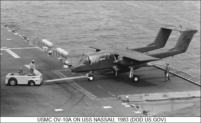 OV-10 Bronco on assault carrier USS NASSAU