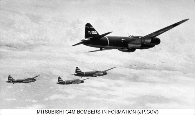 Mitsubishi G4M bombers in formation
