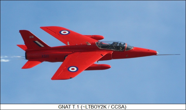 Gnat T.1 warbird in Red Arrows colors