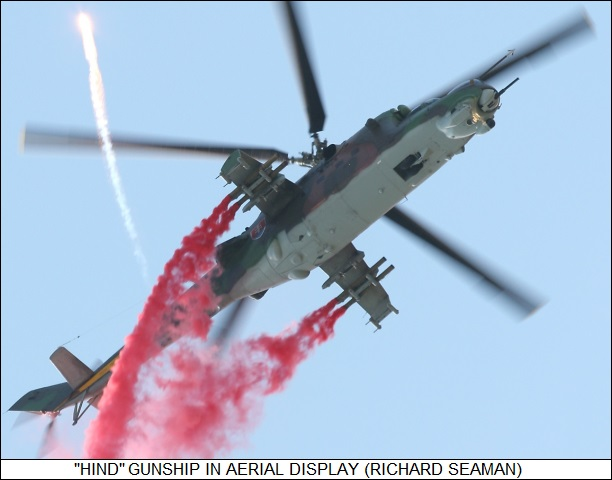Mil Hind gunship in aerial display