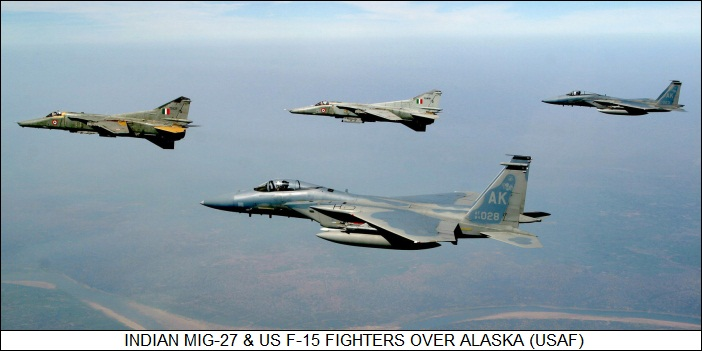 Indian MiG-27 & US F-15 fighters over Alaska