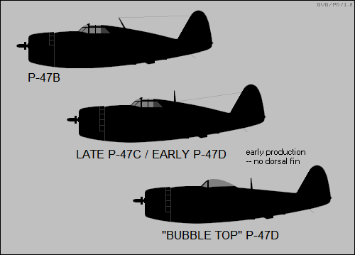 P-47B, late P-47C / early P-47D, bubble top P-47D