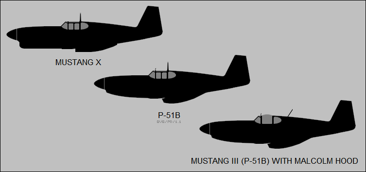 Mustang X, P-51B, P-51B with Malcolm Hood