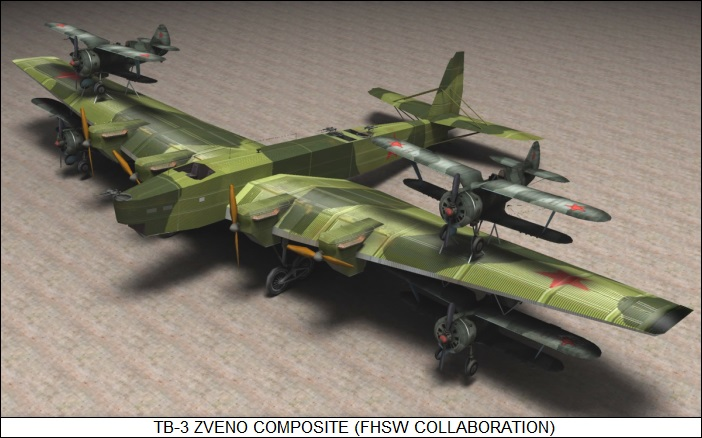Zveno composite / TB-3 with I-I6 fighters