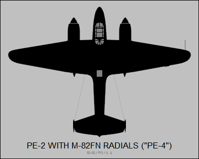 Petlyakov Pe-2 with MF-82N radials (Pe-4)