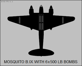 DH Mosquito B.IX with 6x500 pound bombs