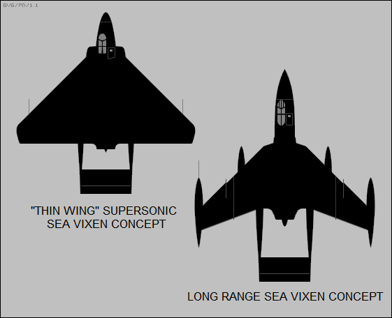 thin wing supersonic & long-range Sea Vixens